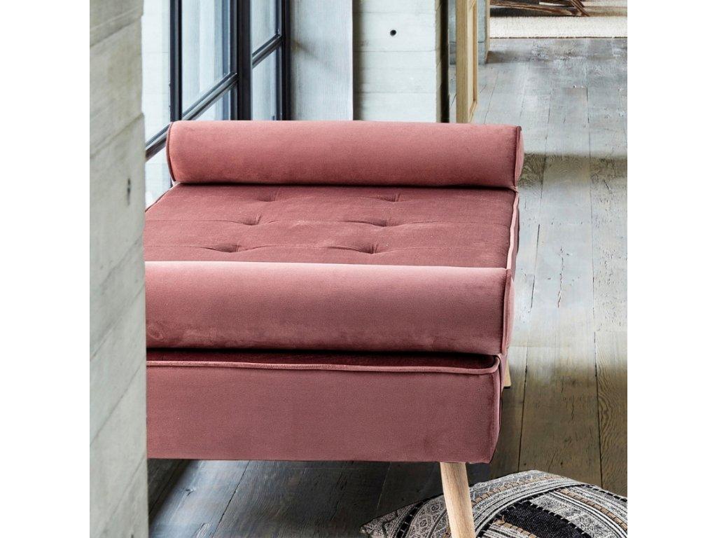 Růžová sametová trojmístná pohovka Bizzotto Gjsel 185 cm