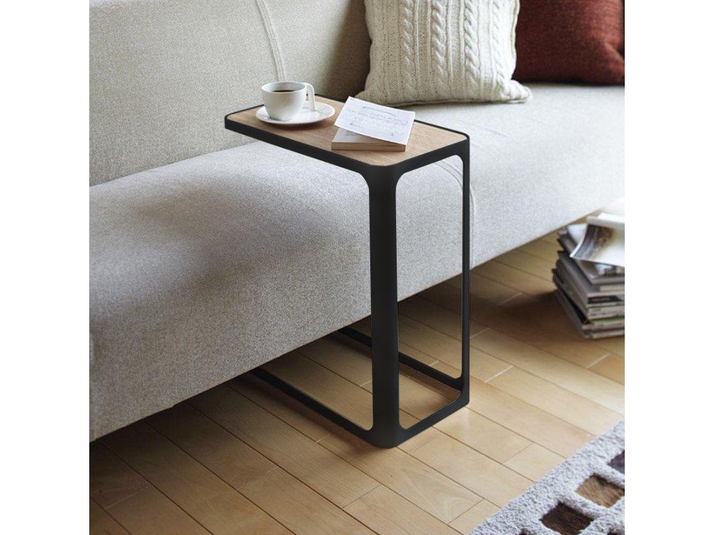Černý kovový konferenční stolek Bizzotto Everitt 50x30 cm s dřevěnou deskou