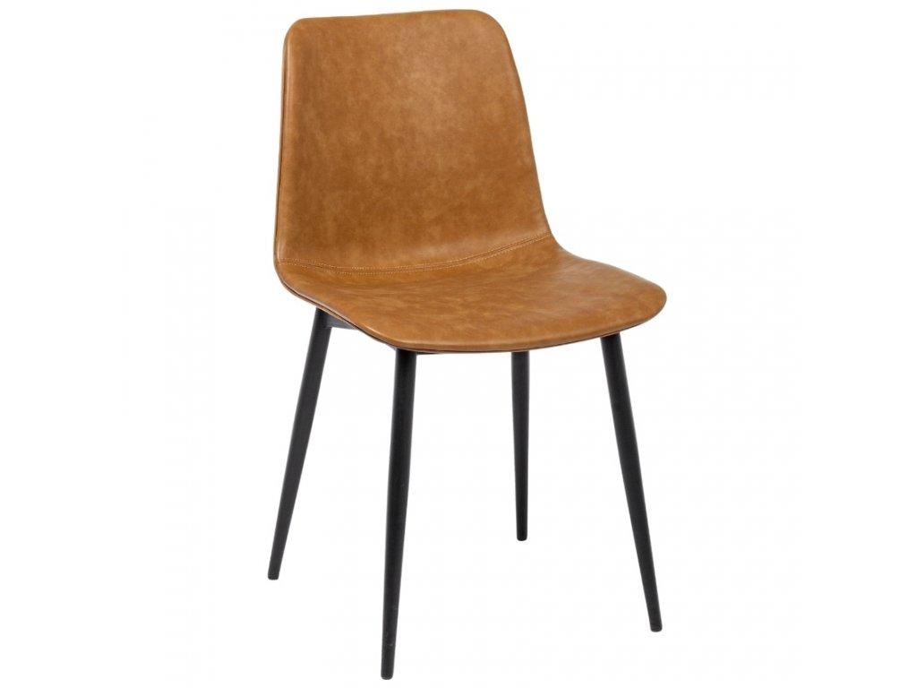 Hnědá kožená jídelní židle Bizzotto Kyra