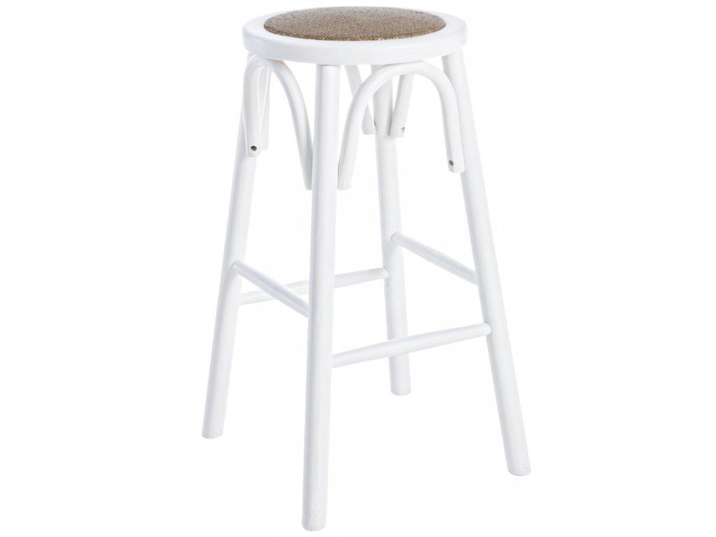 Bílá dřevěná barová židle Bizzotto Circle 73 cm