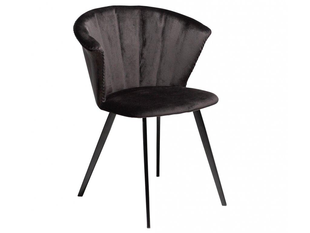 Černá sametová jídelní židle DanForm Merge