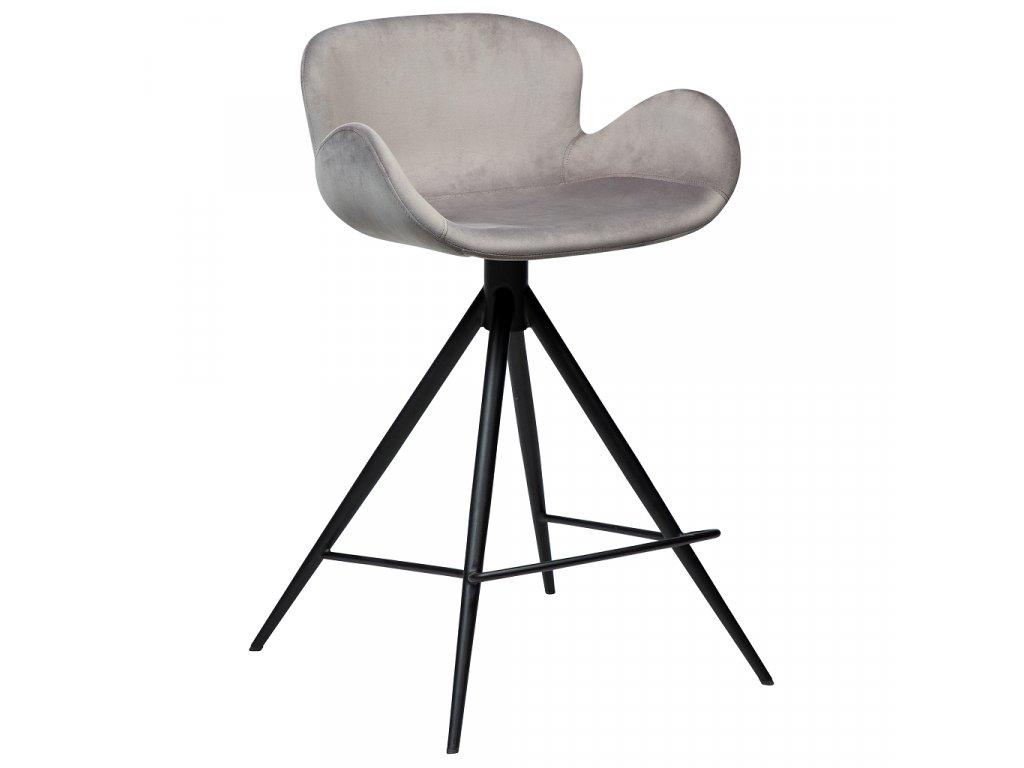 Šedá sametová barová židle DanForm Gaia 87 cm