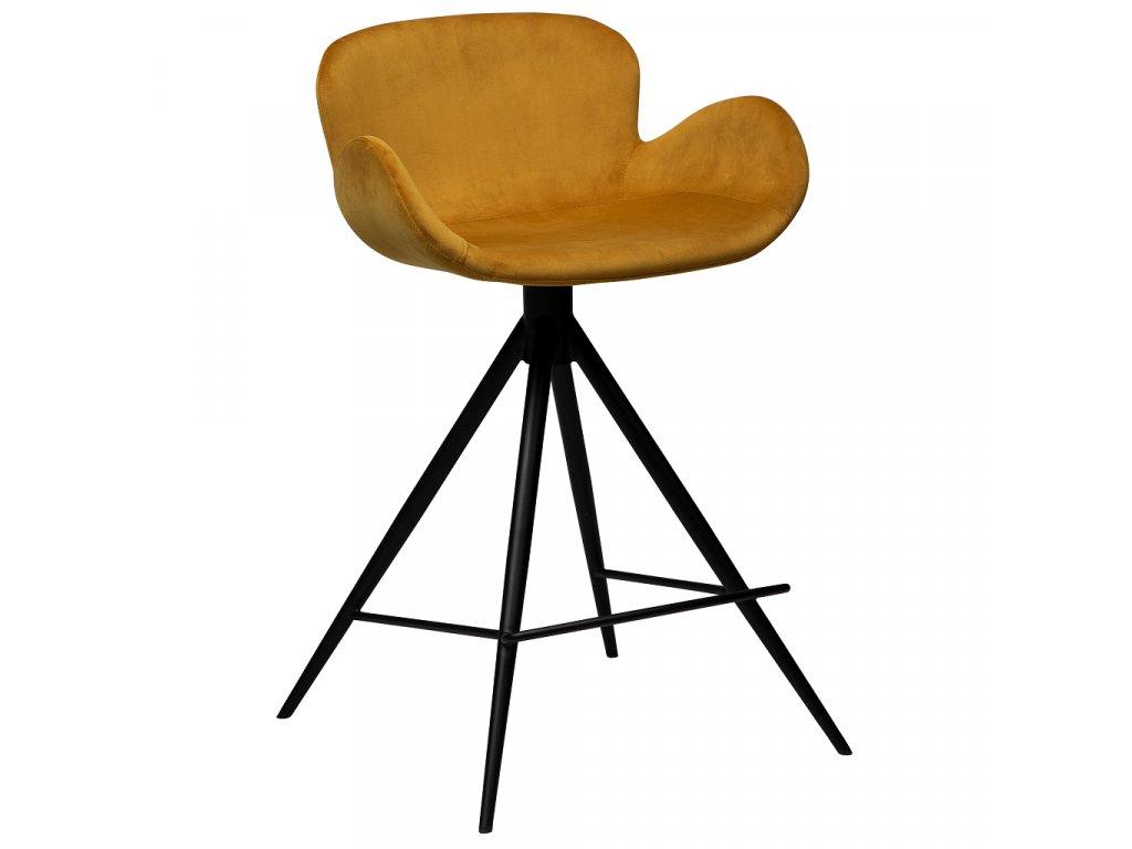 Žlutá sametová barová židle DanForm Gaia 87 cm