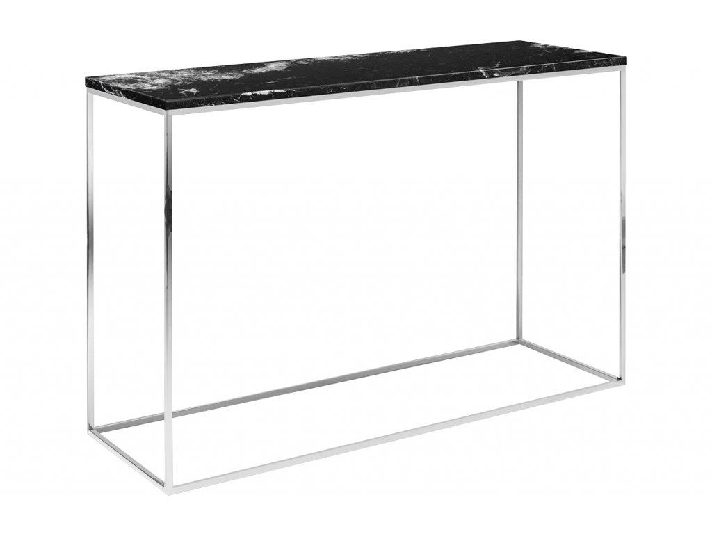 Černý mramorový toaletní stolek Baronet 120x40 cm se stříbrnou podnoží