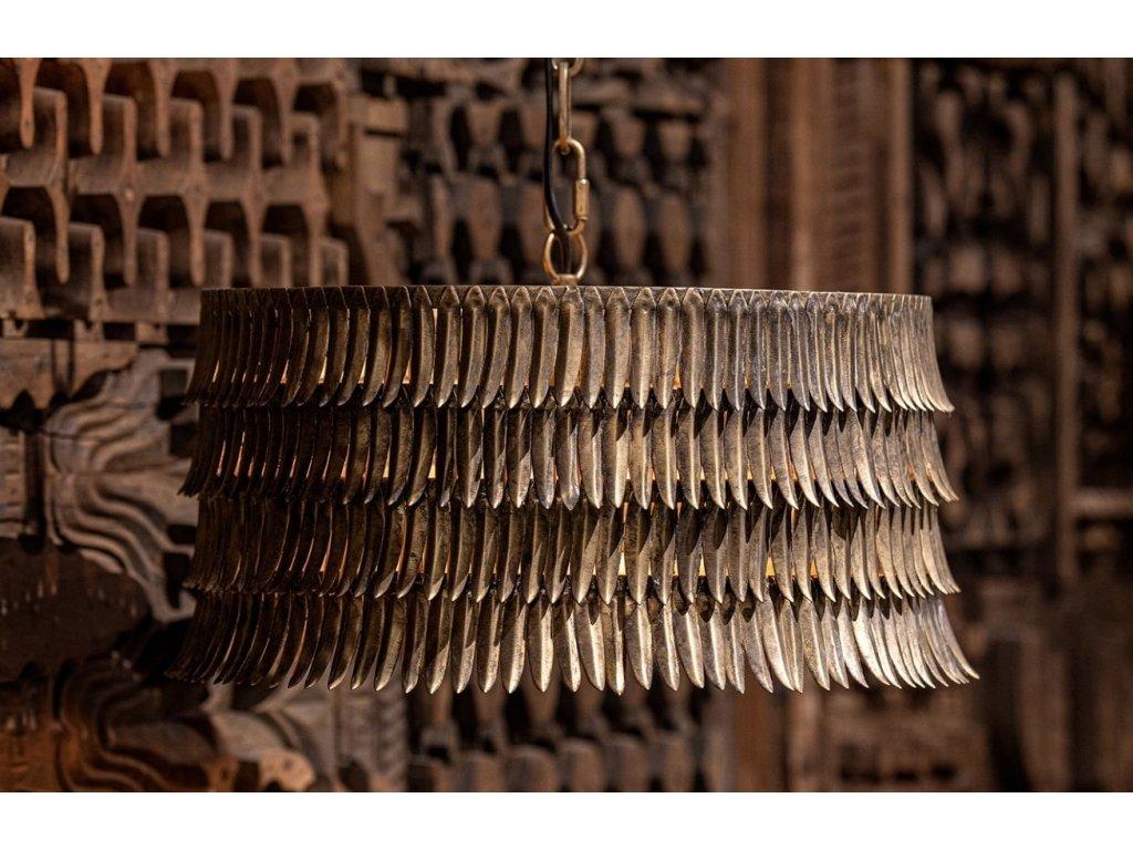 Mosazné kovové závěsné světlo Hula 43 cm