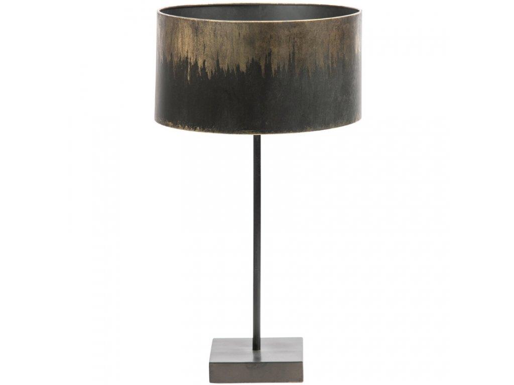 Černo zlatá kovová stolní lampa Bessie