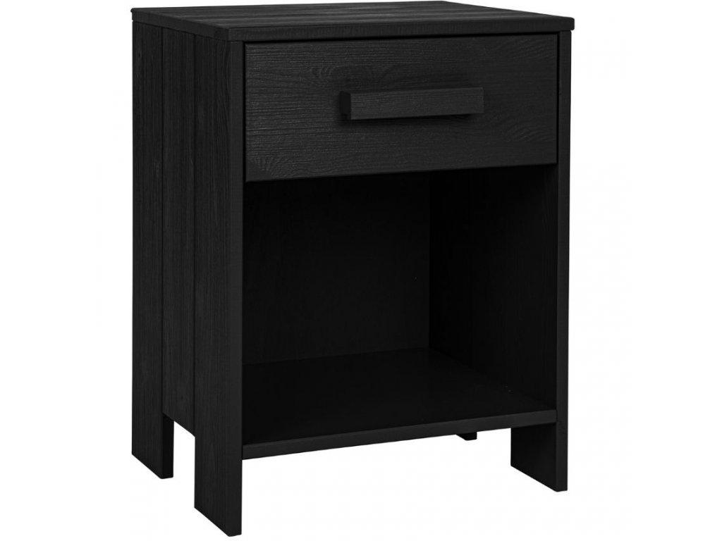 Černý dřevěný noční stolek Koben 39 x 36 cm