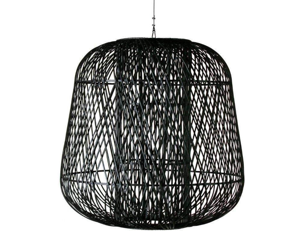 Černé pletené bambusové závěsné světlo Bamboo 100 cm