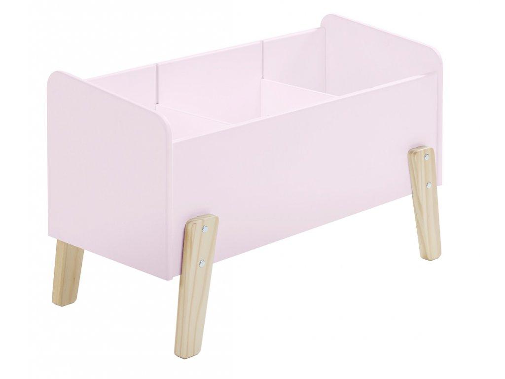 Růžový dřevěný úložný box na hračky Vipack Kiddy 39 x 80 cm
