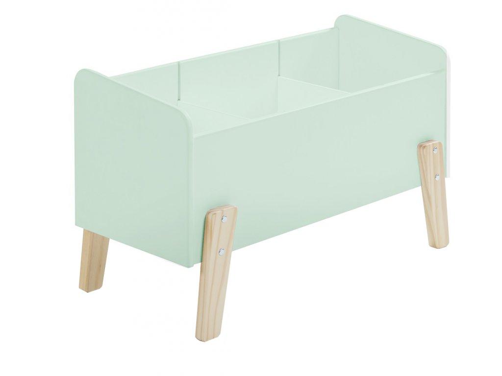 Mátově zelený dřevěný úložný box na hračky Vipack Kiddy 39 x 80 cm