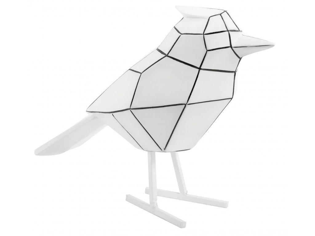 Bílá dekorace Birdie Stripes L