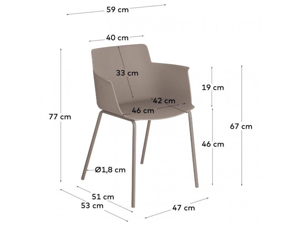 Hnědá plastová jídelní židle LaForma Hannia s područkami