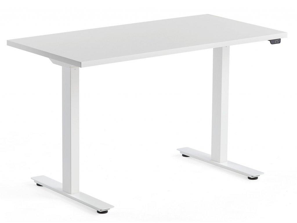 Bílý výškově nastavitelný pracovní stůl FormWood Barry 120 x 60 cm