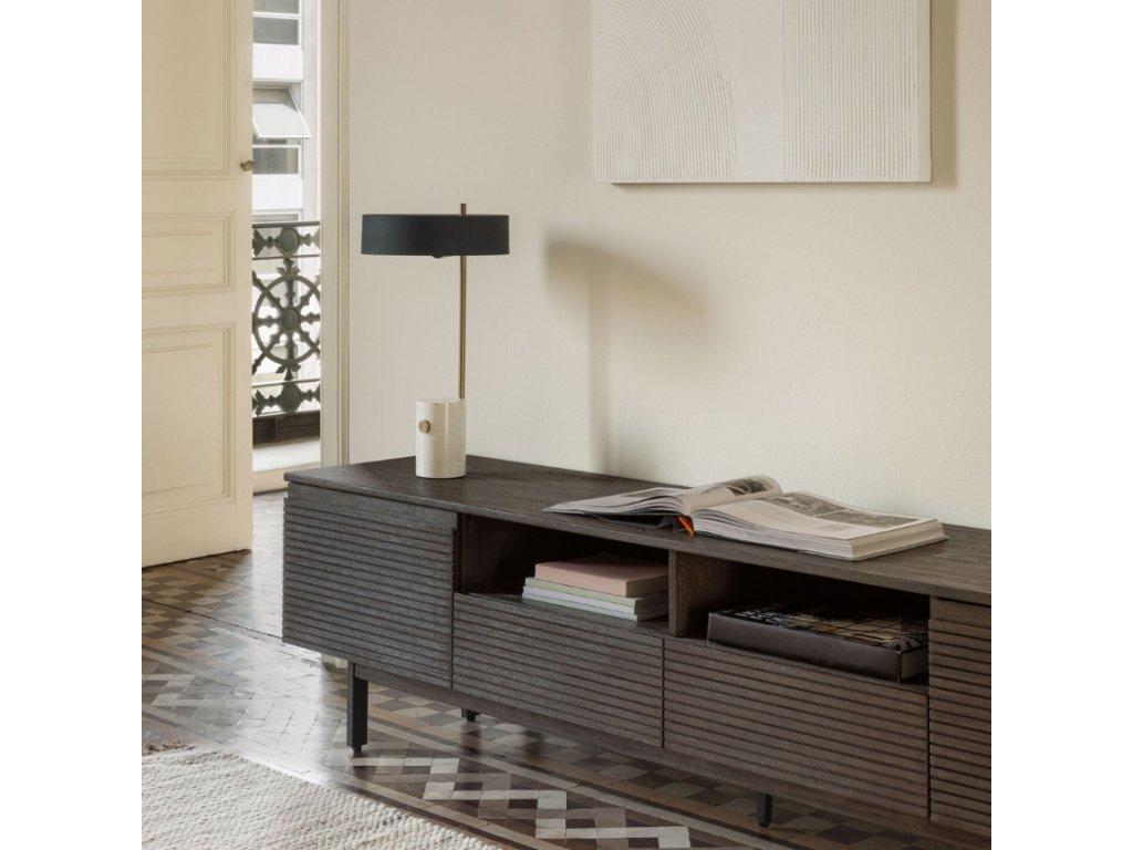 Antracitový dřevěný TV stolek LaForma Indiann 210 x 45 cm