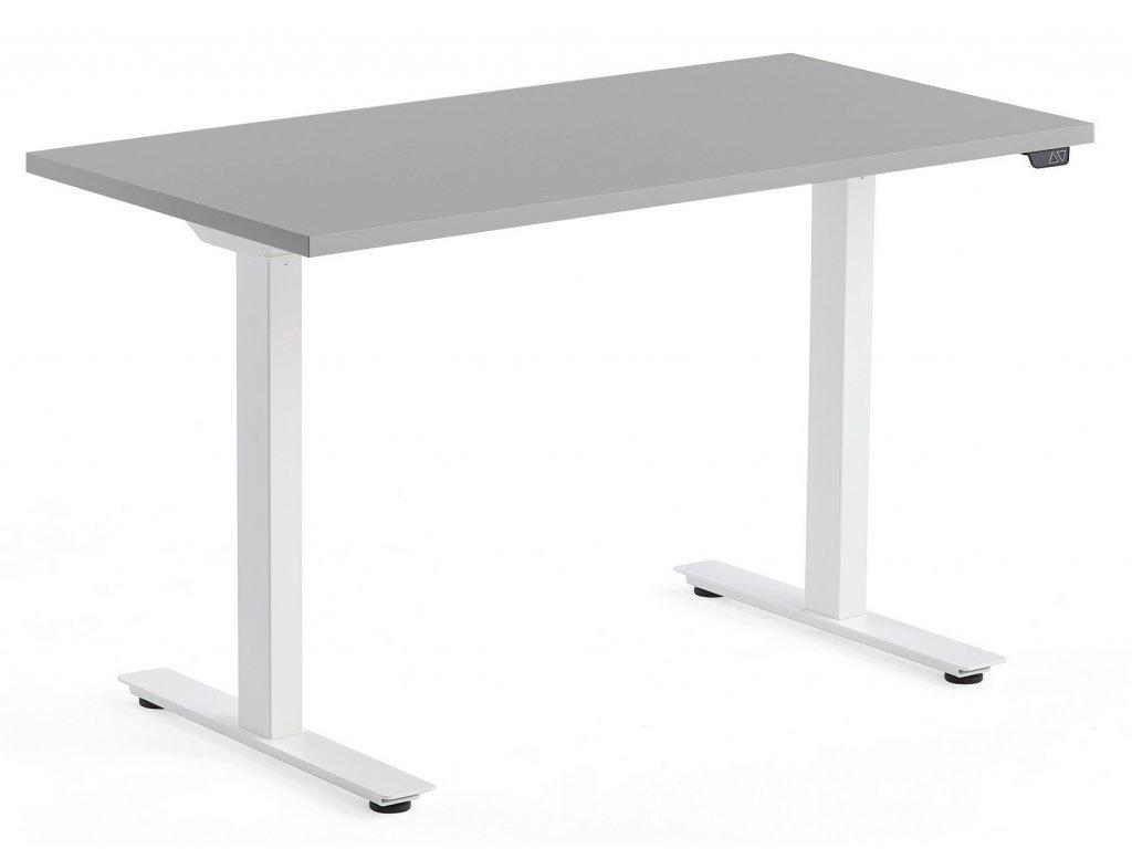 Šedý výškově nastavitelný pracovní stůl FormWood Barry 120 x 60 cm
