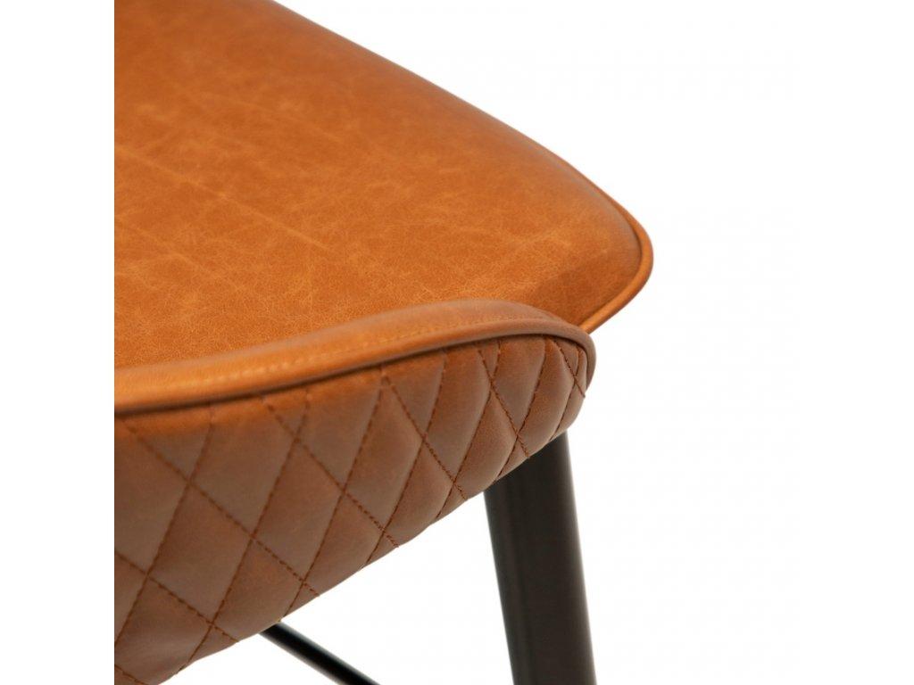 Hnědá koženková barová židle DanForm Dual 76 cm