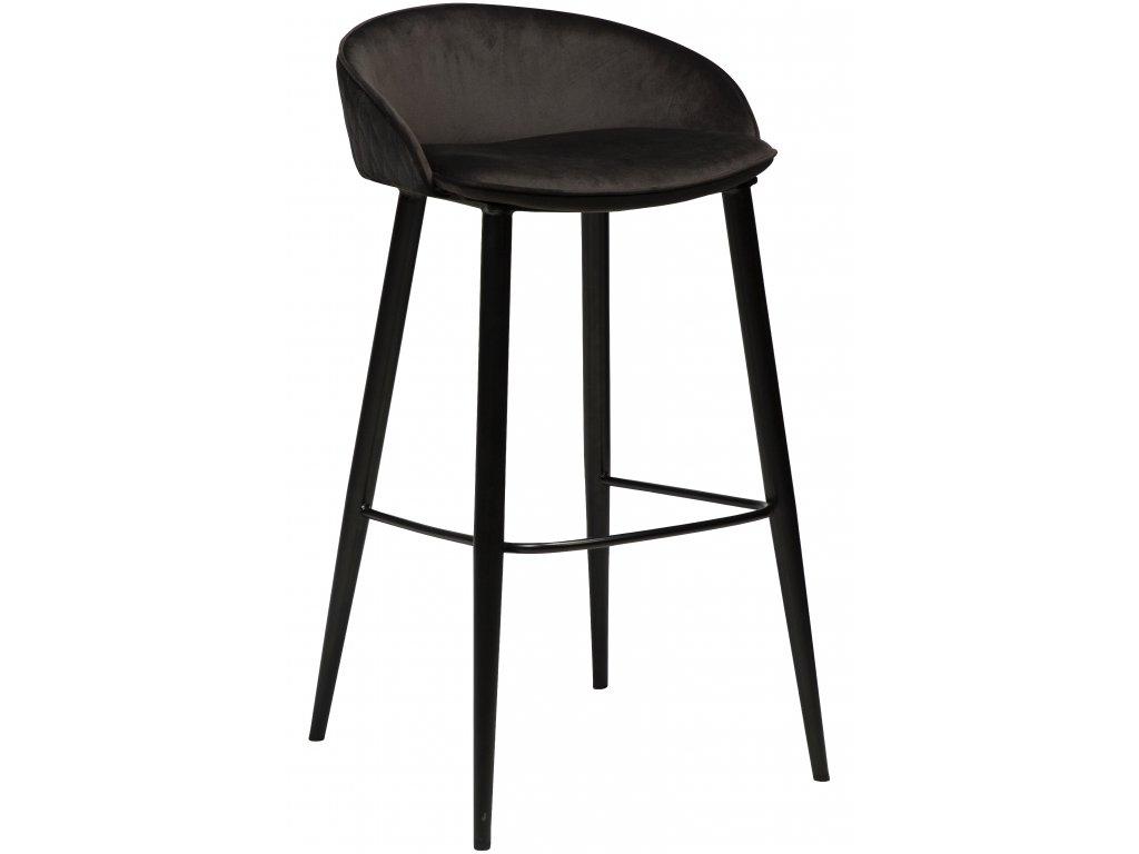 Černá sametová barová židle DanForm Dual 76 cm
