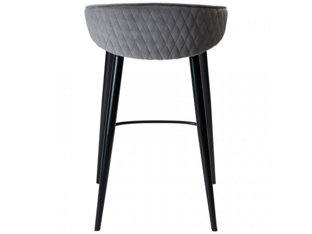 Šedá sametová barová židle DanForm Dual 66 cm