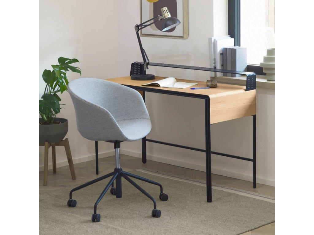 Světle šedá látková konferenční židle LaForma Zadine na kolečkách