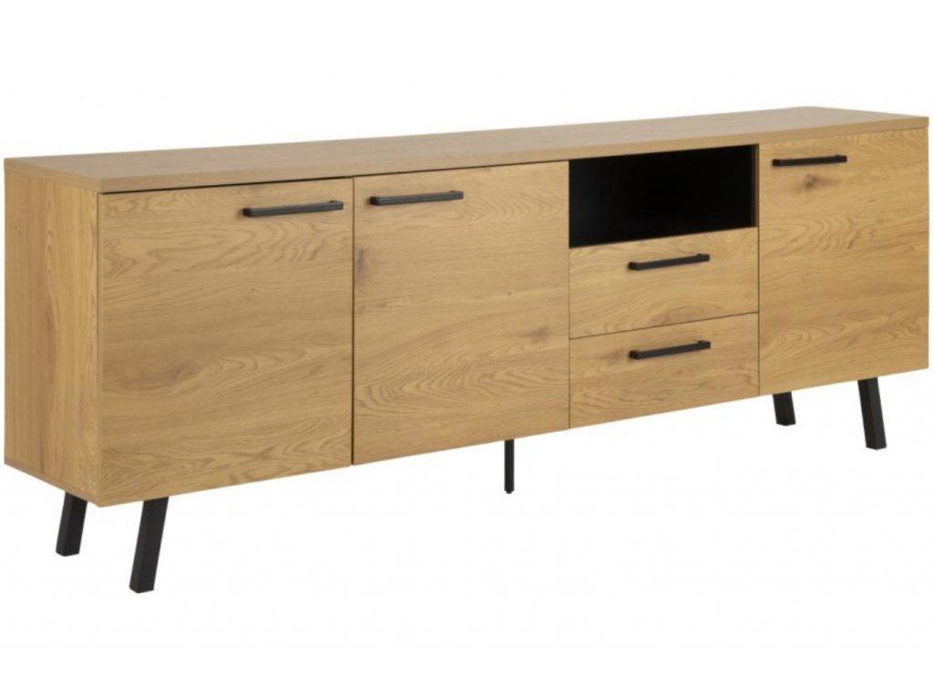 Přírodní dřevěná komoda Gumia 220 x 78 cm