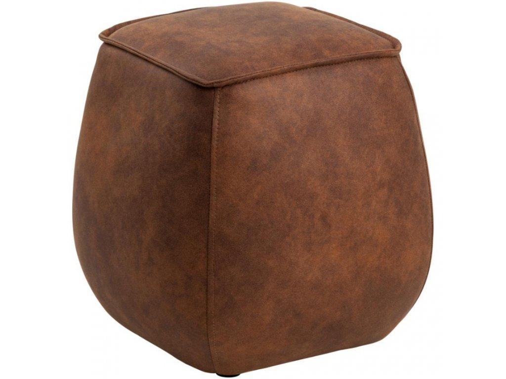 Hnědý koženkový taburet Mieno 40 cm
