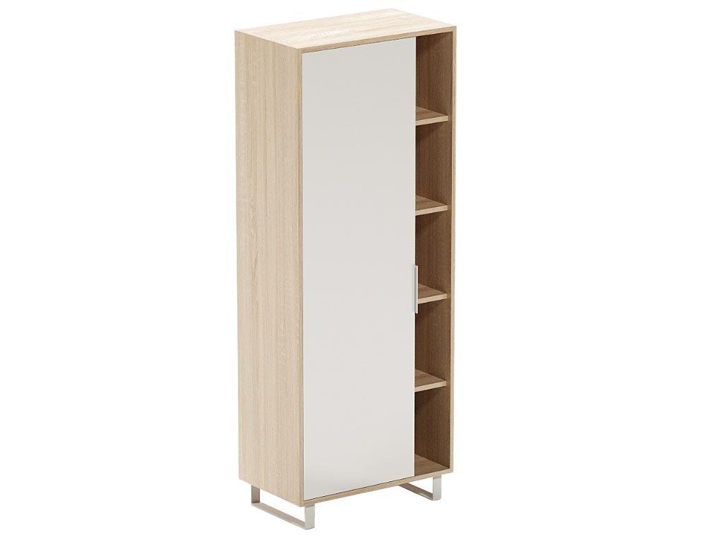 Bílá dubová kancelářská skříň s nikou FormWood Thor 180 x 70 cm