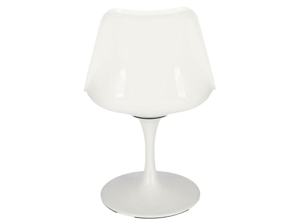 Bílá otočná židle Tulip s šedým sedákem