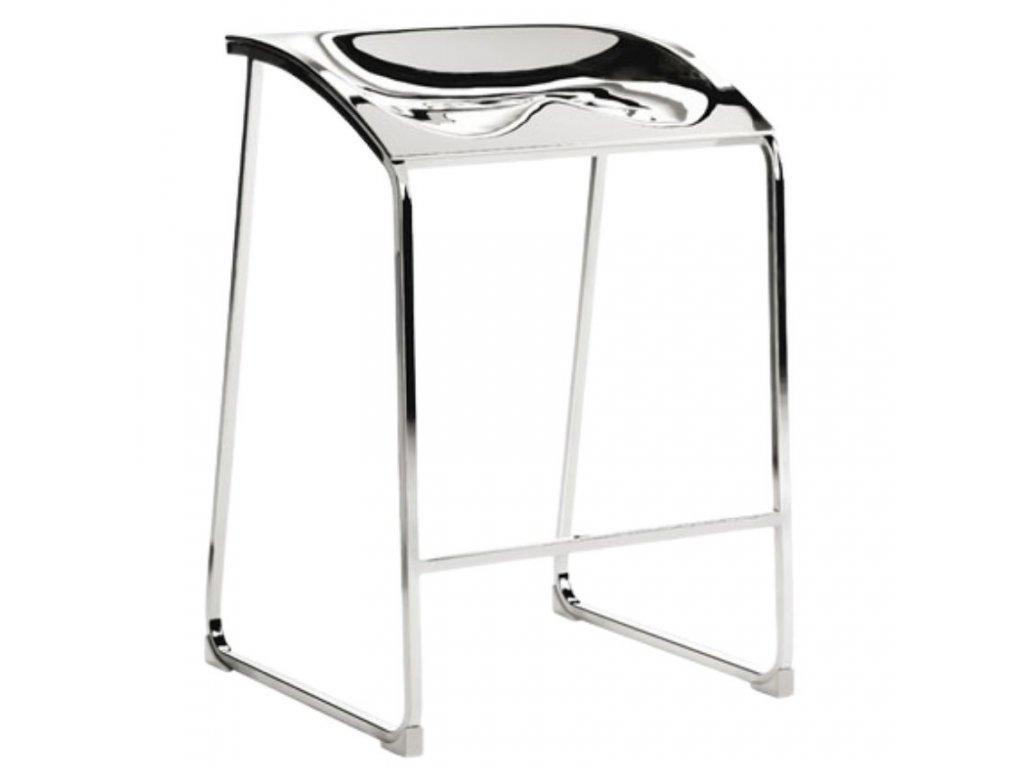Stříbrná kovová barová židle Arod 500 65 cm