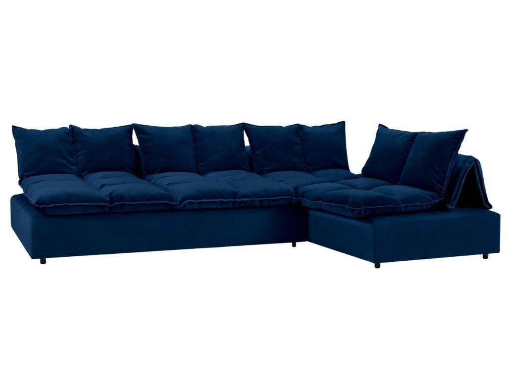 Královsky modrá sametová modulární rohová pohovka MICADONI MONZA 326 x 240 cm, levá/pravá