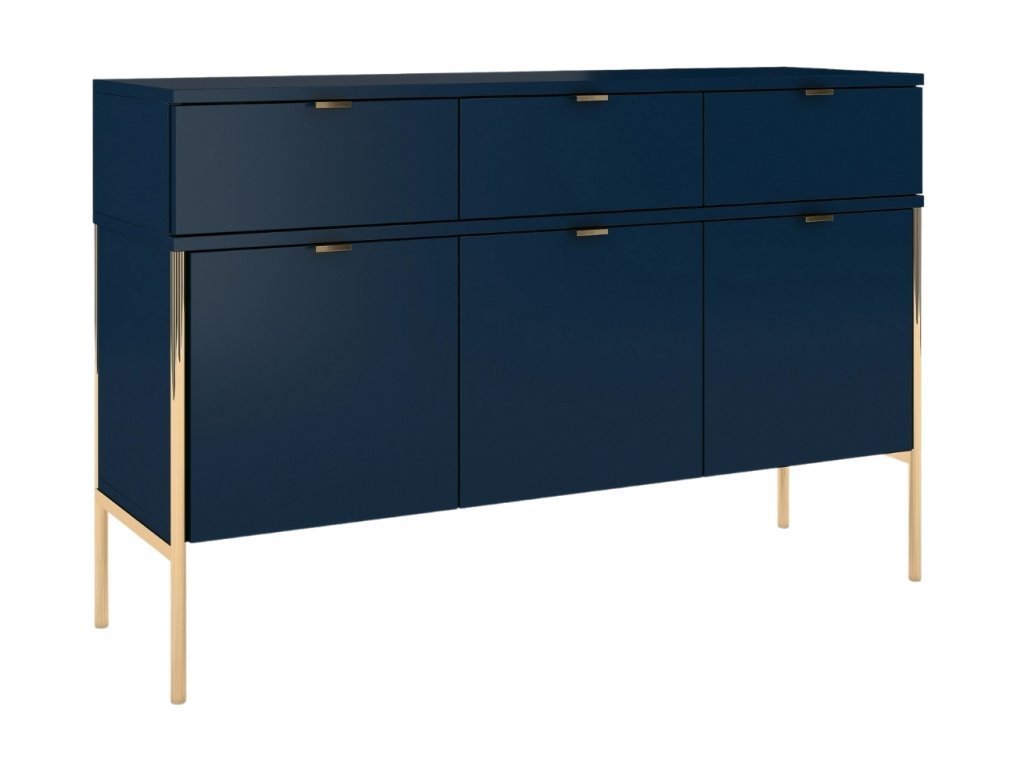 Tmavě modrá komoda Skandica Polka se zlatou podnoží 120 x 37 cm