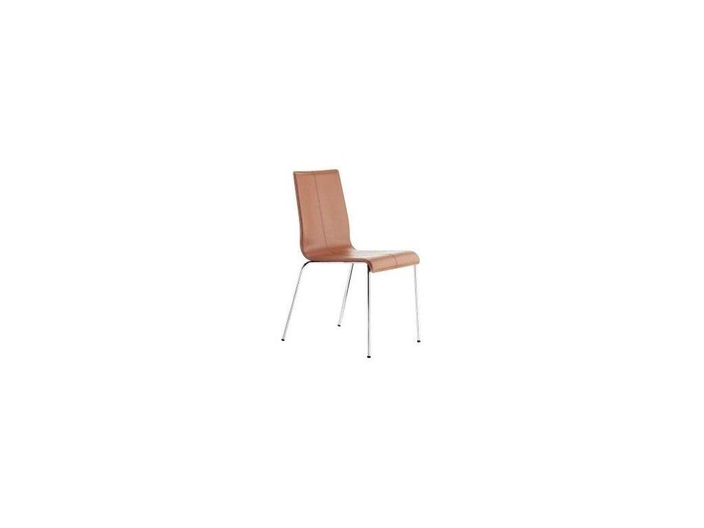 Hnědá kožená židle Kuadra 1281