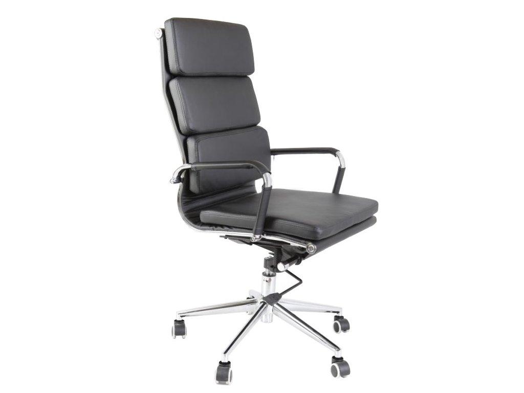 Černé koženkové kancelářské křeslo Eco Soft line