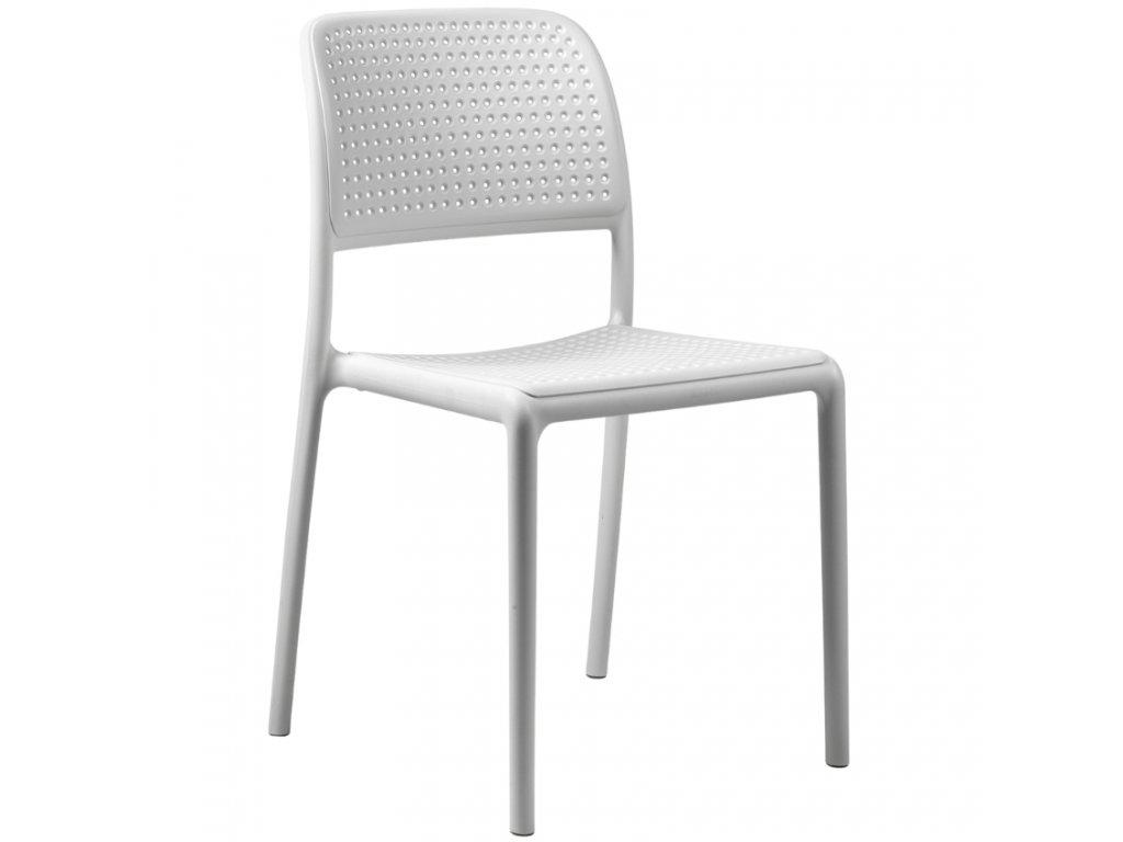 Bílá plastová zahradní židle Loft