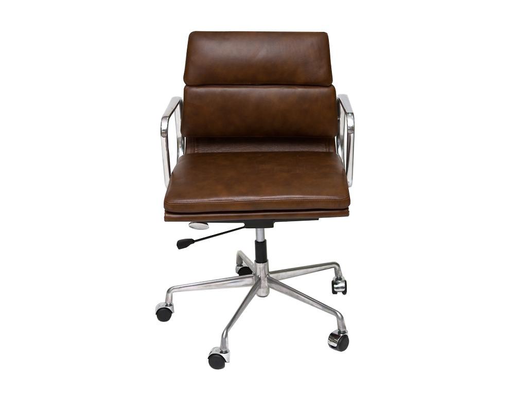 Hnědá kožená kancelářská židle Soft Pad 217 s chrmovanou podnož na kolečkách