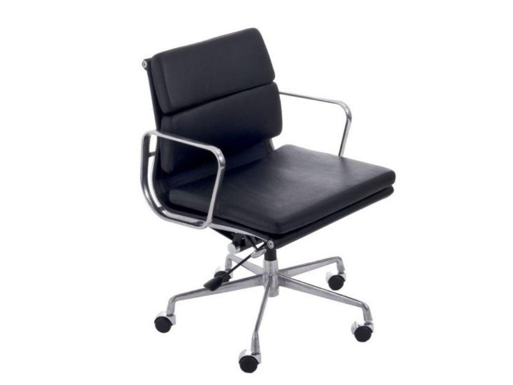Černá kožená kancelářská židle Soft Pad 217