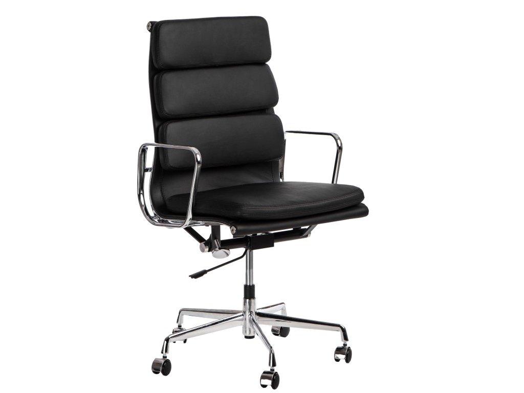 Kancelářská židle Soft Pad Group 219, černá kůže/chrom