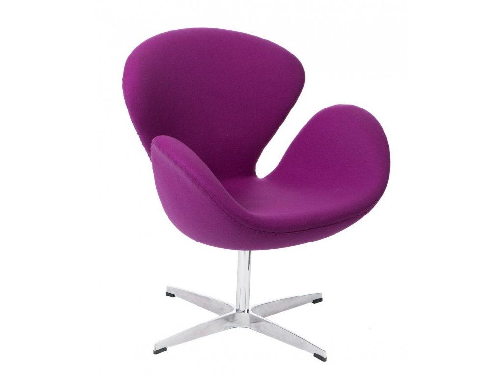 Designové fialové kašmírové otočné křeslo Swan