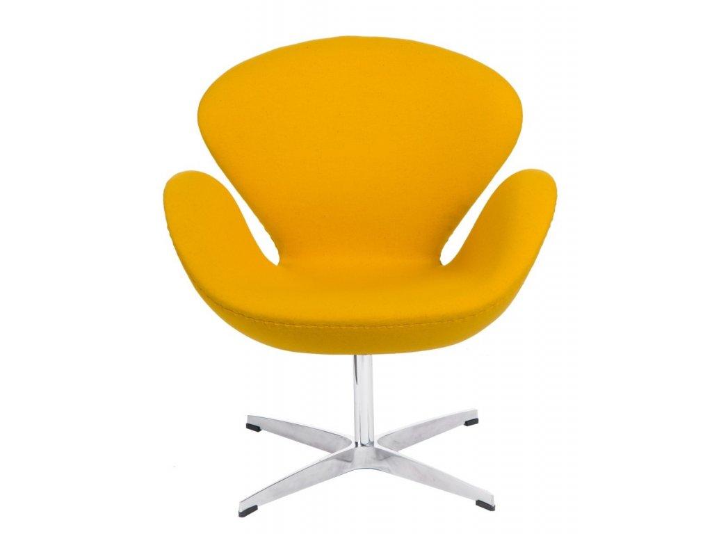 Designové žluté kašmírové otočné křeslo Swan