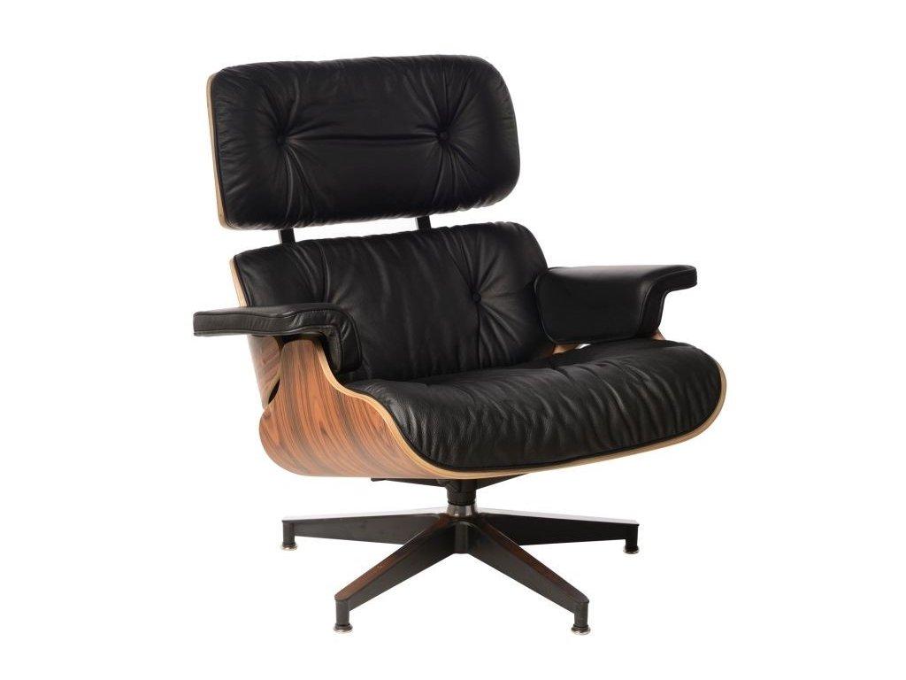 Černé kožené křeslo Lounge chair v provedení palisandr
