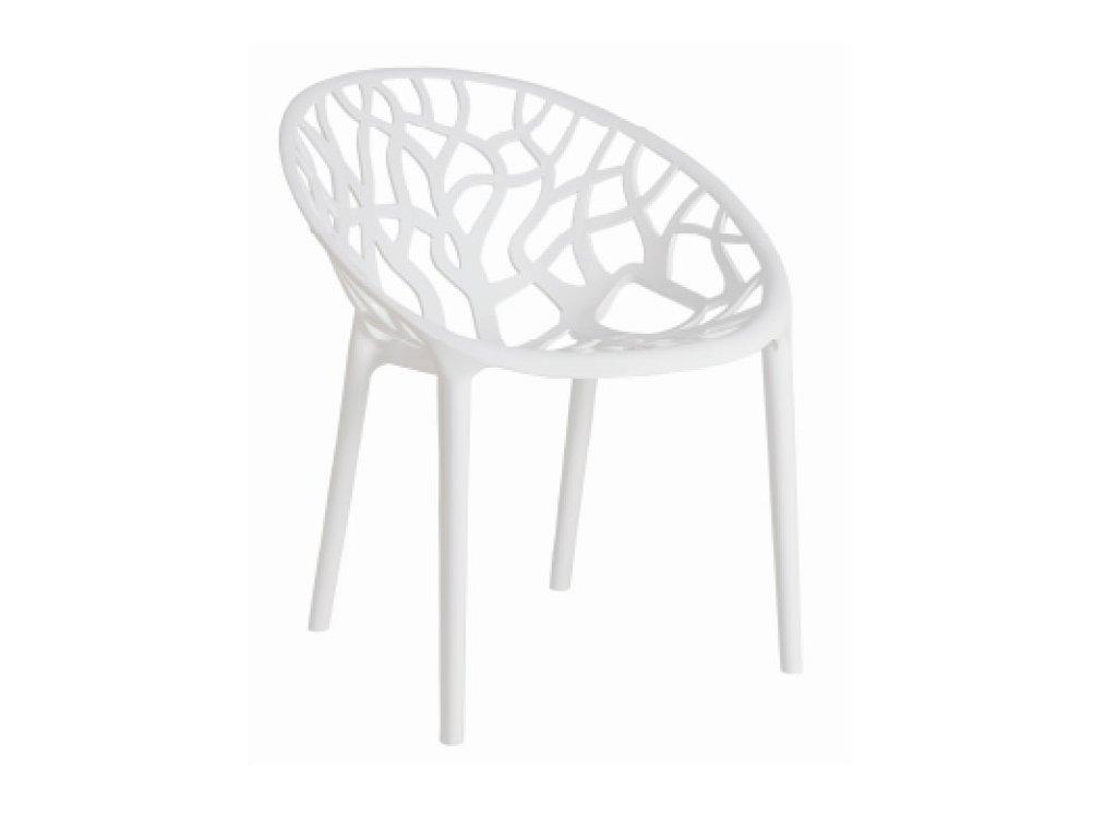 Bílá plastová jídelní židle Crystal