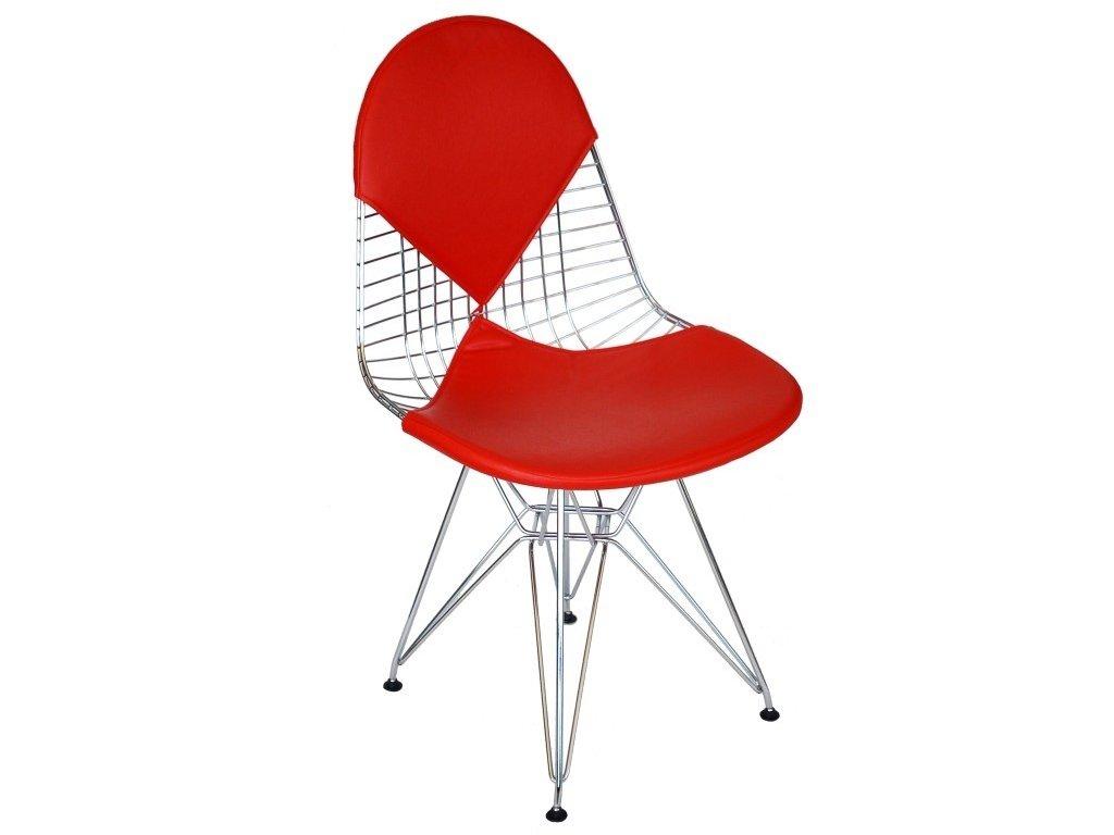Červená kovová židle DKR Siluet čalouněná