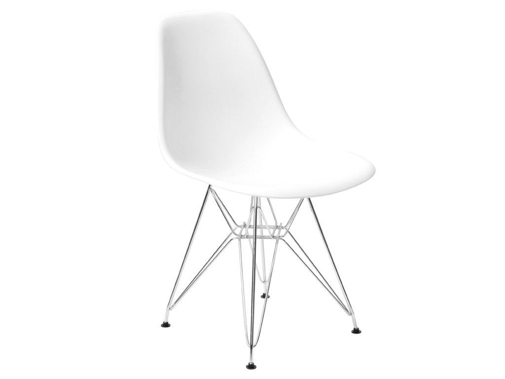 Bílá plastová jídelní židle DSR s chromovanou podnoží