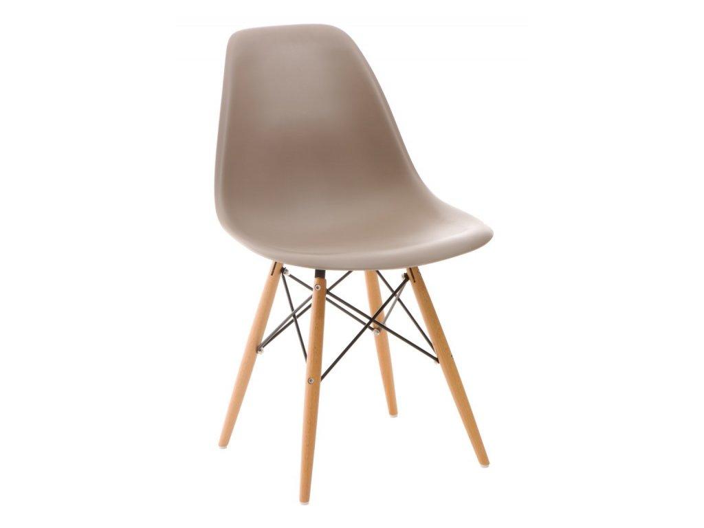 Designová plastová židle DSW s bukovou podnoží v provedení cappuccino