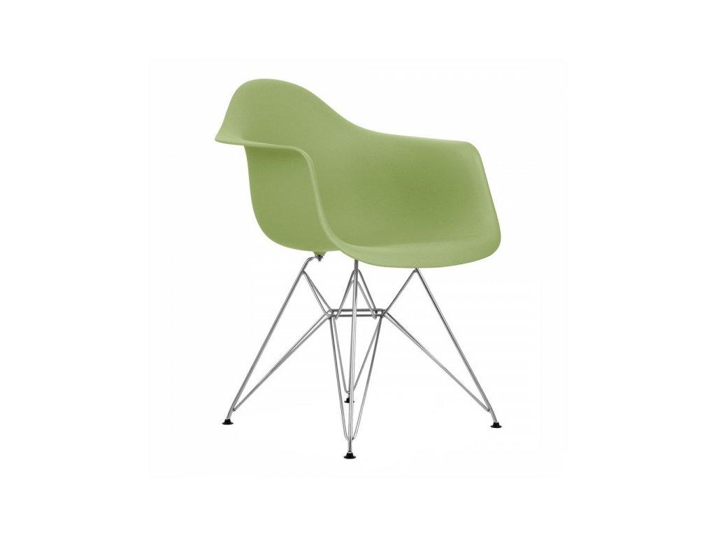 Zelená plastová židle DAR s kovovou podnoží