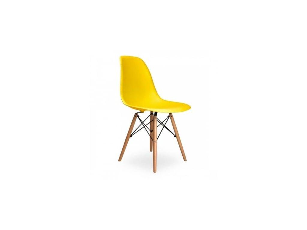 Žlutá plastová židle DSW s bukovou podnoží