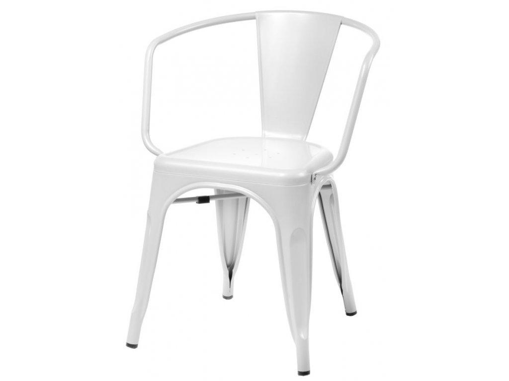 Jídelní židle Tolix 45 s područkami, bílá