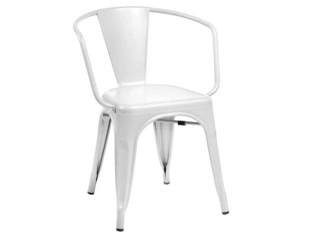 Bílá kovová jídelní židle Tolix s područkami