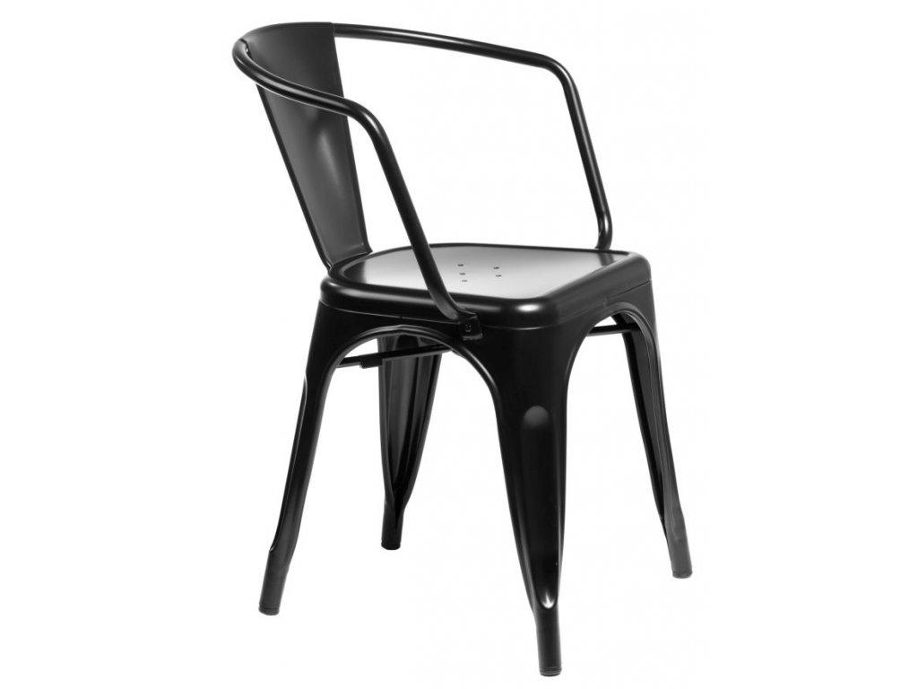 Jídelní židle Tolix 45 s područkami, černá