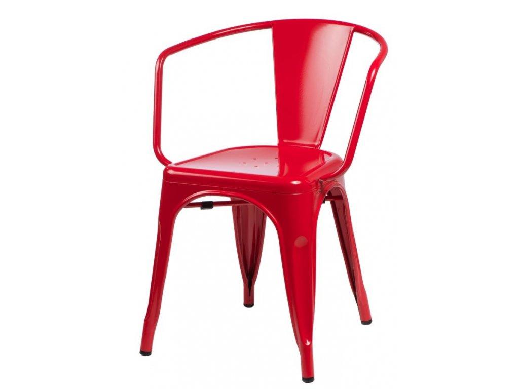 Červená kovová jídelní židle Tolix s područkami