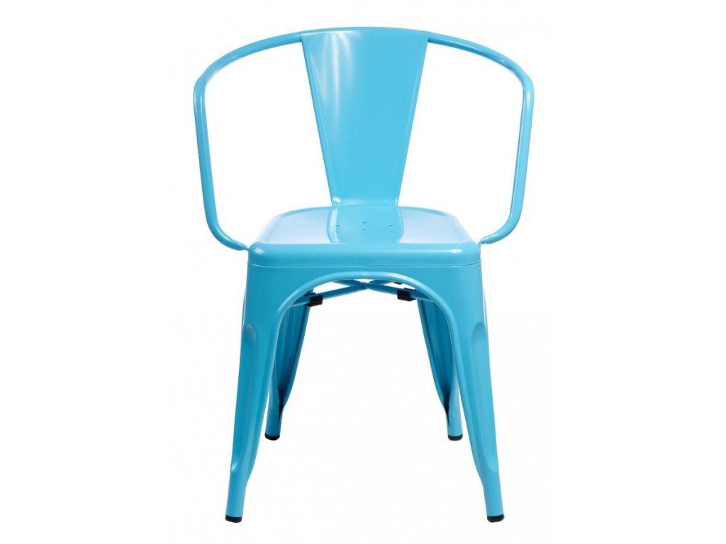Modrá kovová jídelní židle Tolix s područkami